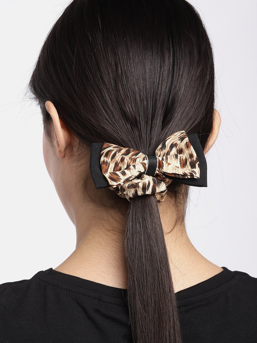Blueberry animal printed bow scrunchie