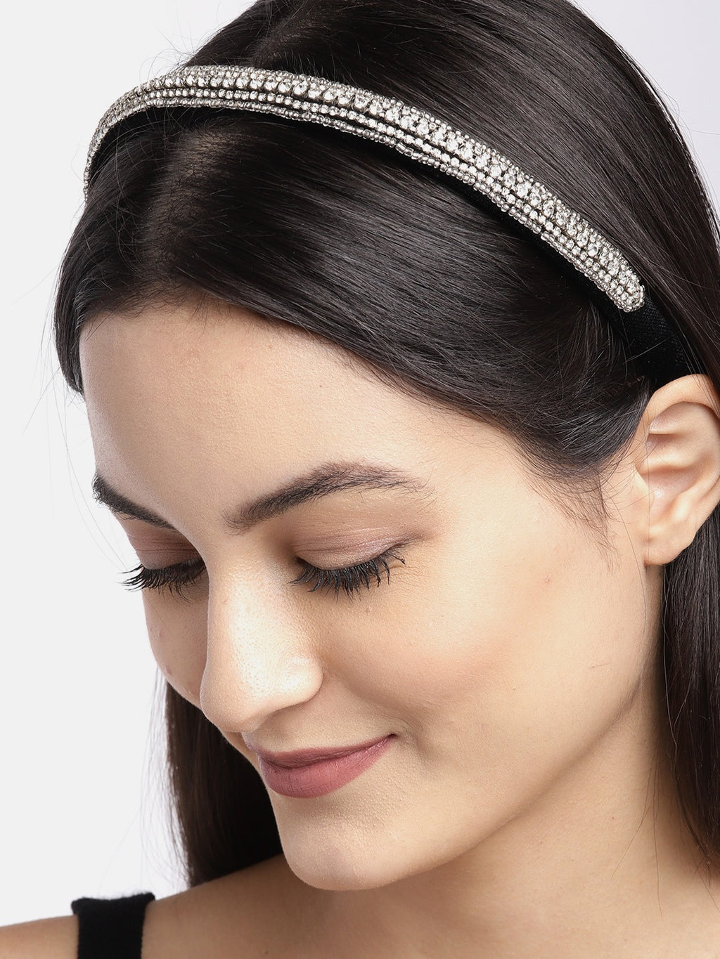 Blueberry silver crystal hand embellished black hairband