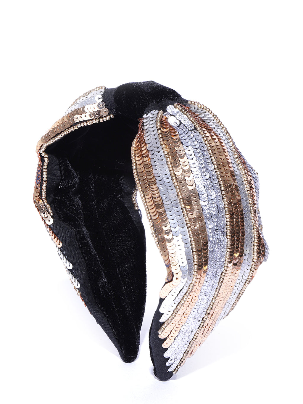Blueberry golden and silver sequins embellished velvet knot hairband