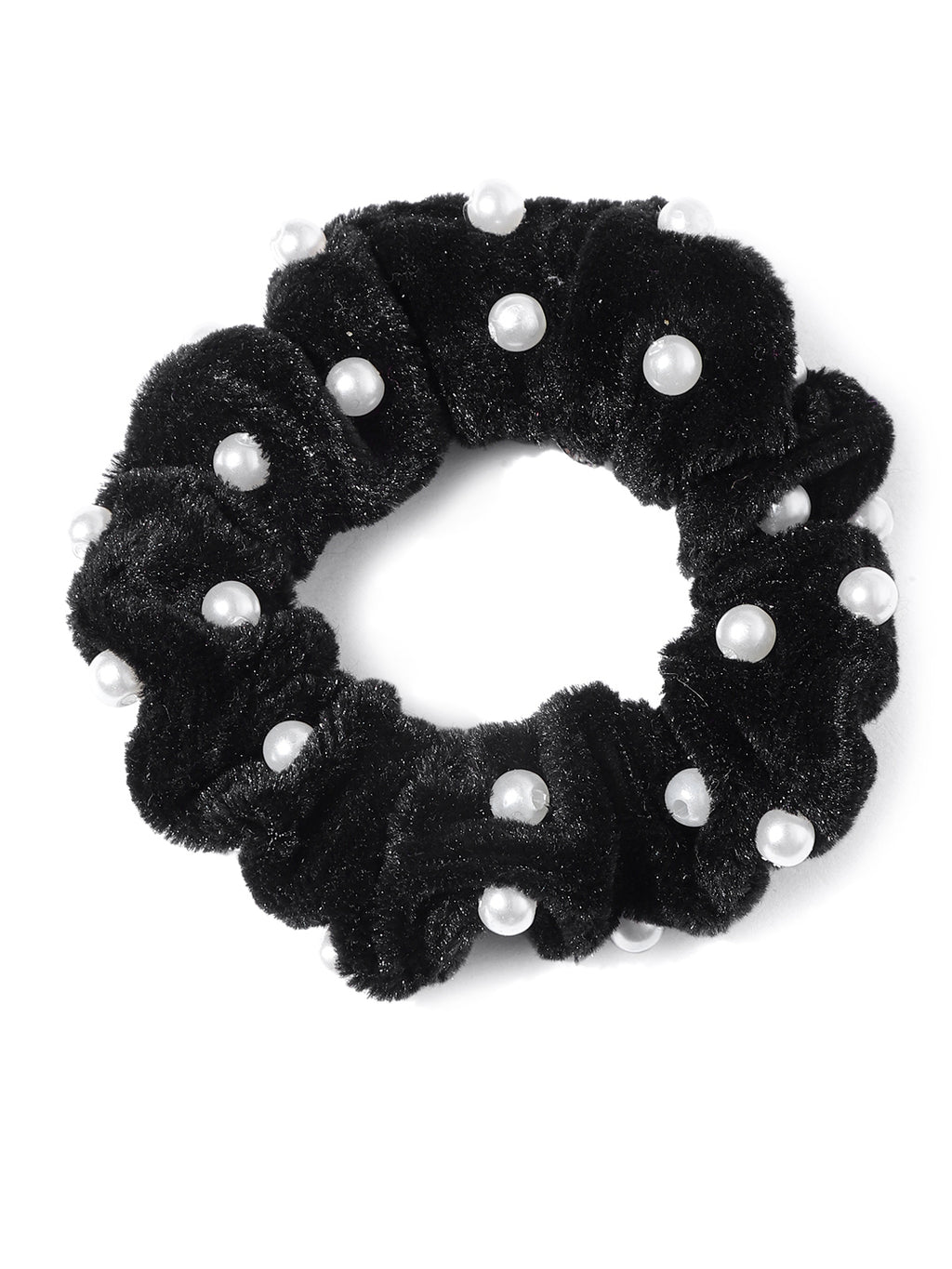 Blueberry set of 2 black velvet pearl detailing scrunchies