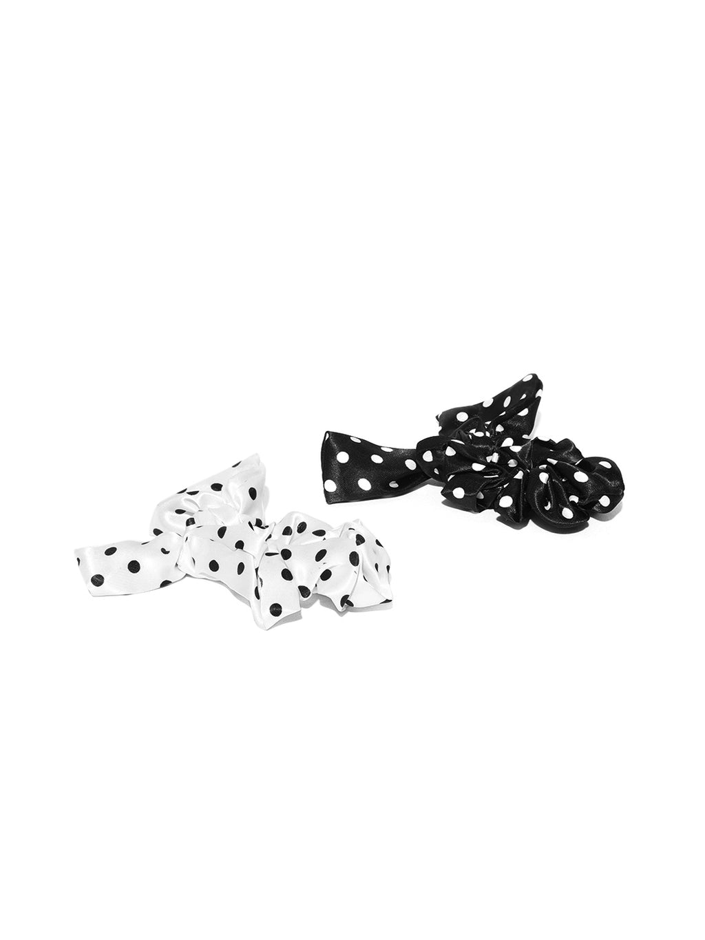 Blueberry set of 2 polka dot knot detailing scrunchies