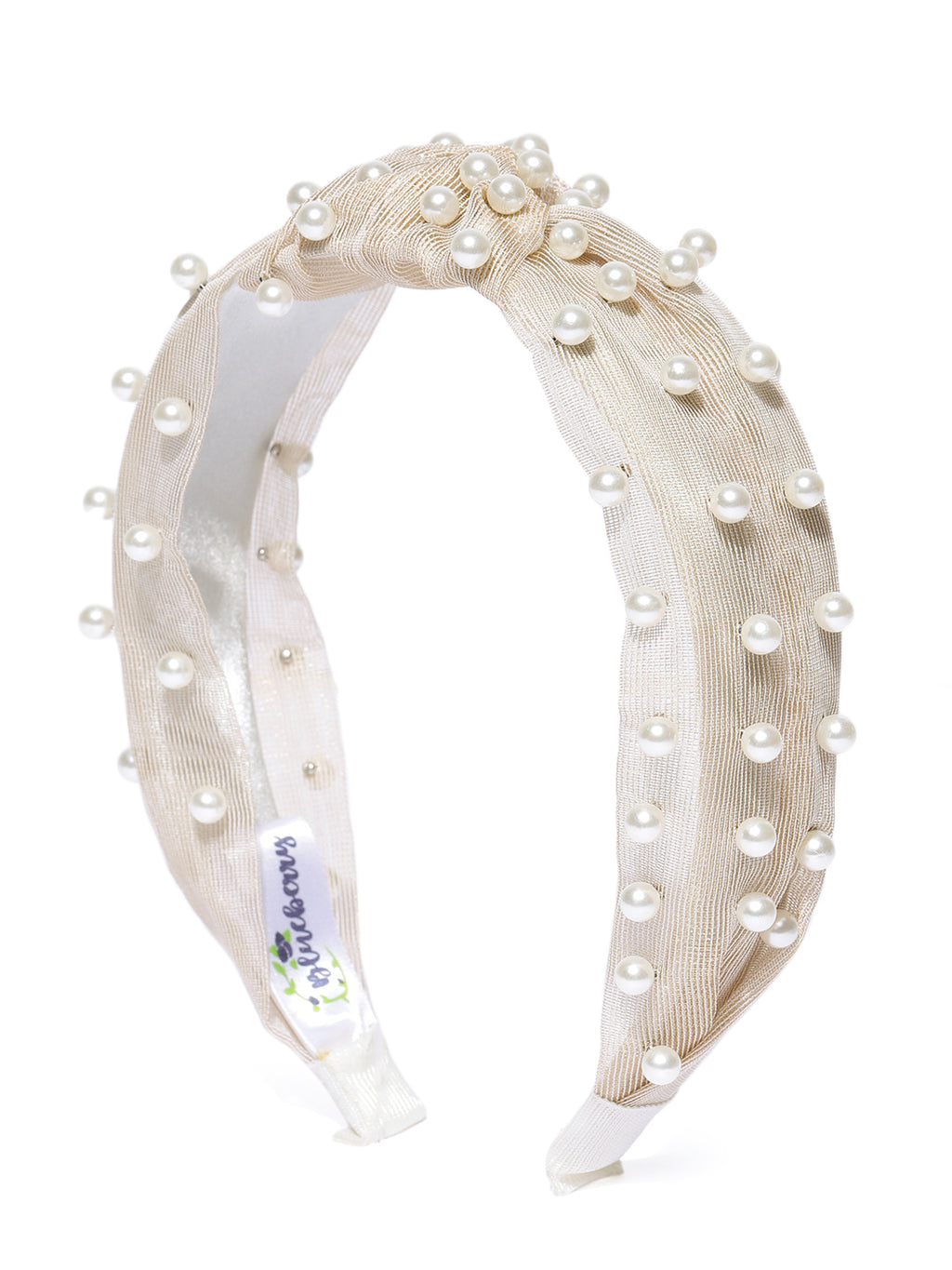 Blueberry princess pearl embellished Gold knot hair band