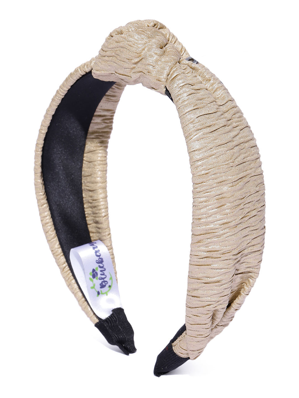 Blueberry beige pleated knot hair band