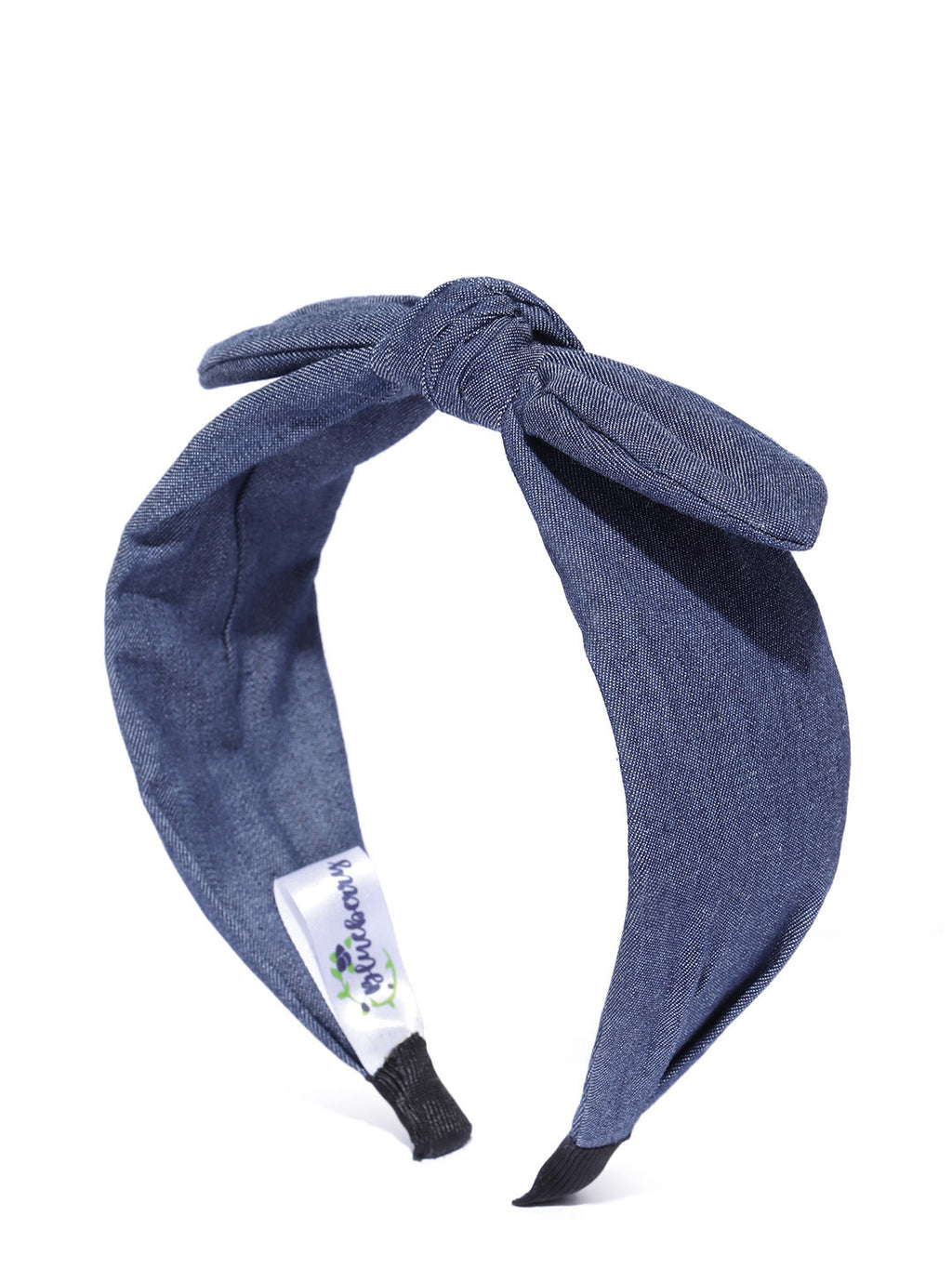Blueberry Navy blue denim bunny knot hair band