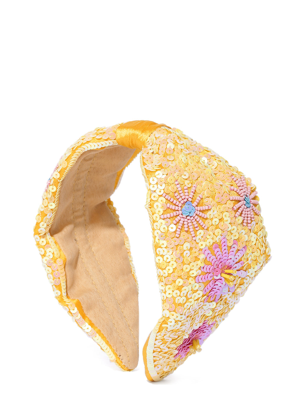 Blueberry yellow and pink sequin embellished satin knot hair band