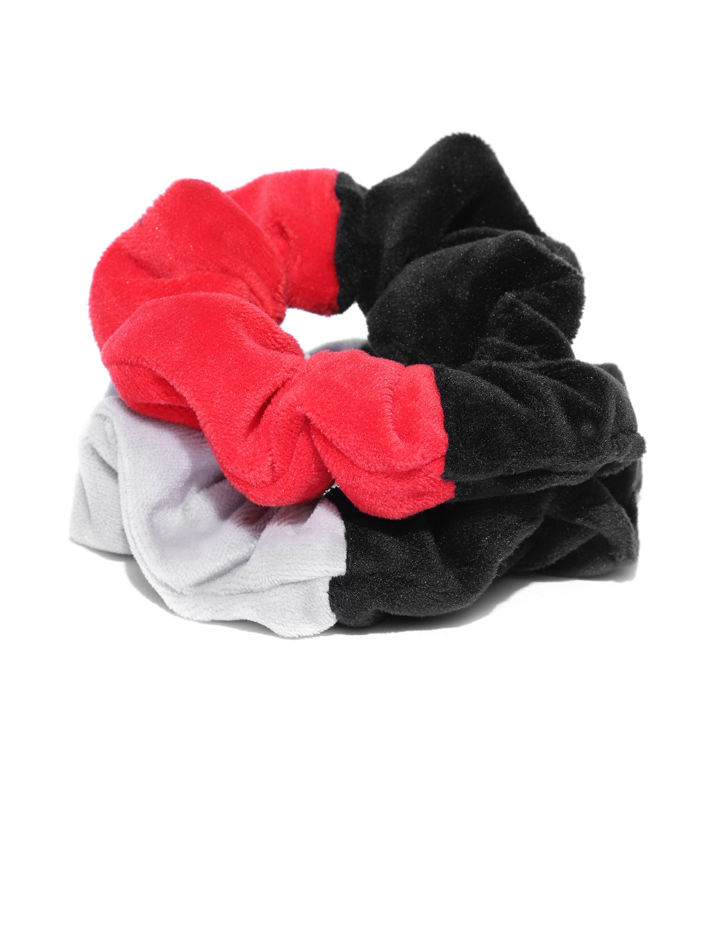 Blueberry Set of 2 black, grey and red double tone velvet scrunchies