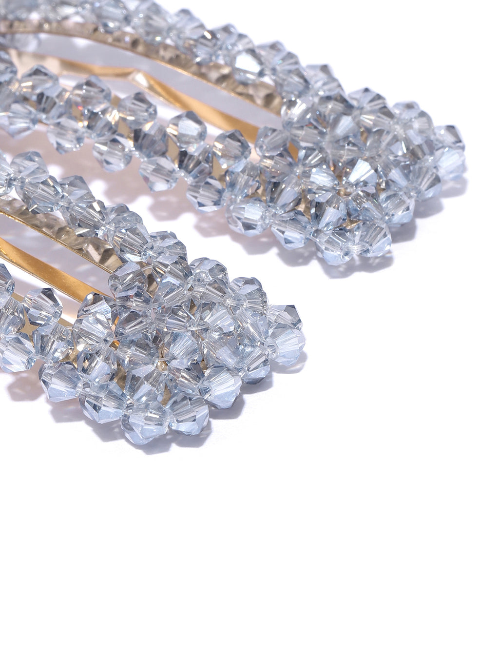 Blueberry set of 2 grey crystal beads detailing hair pins