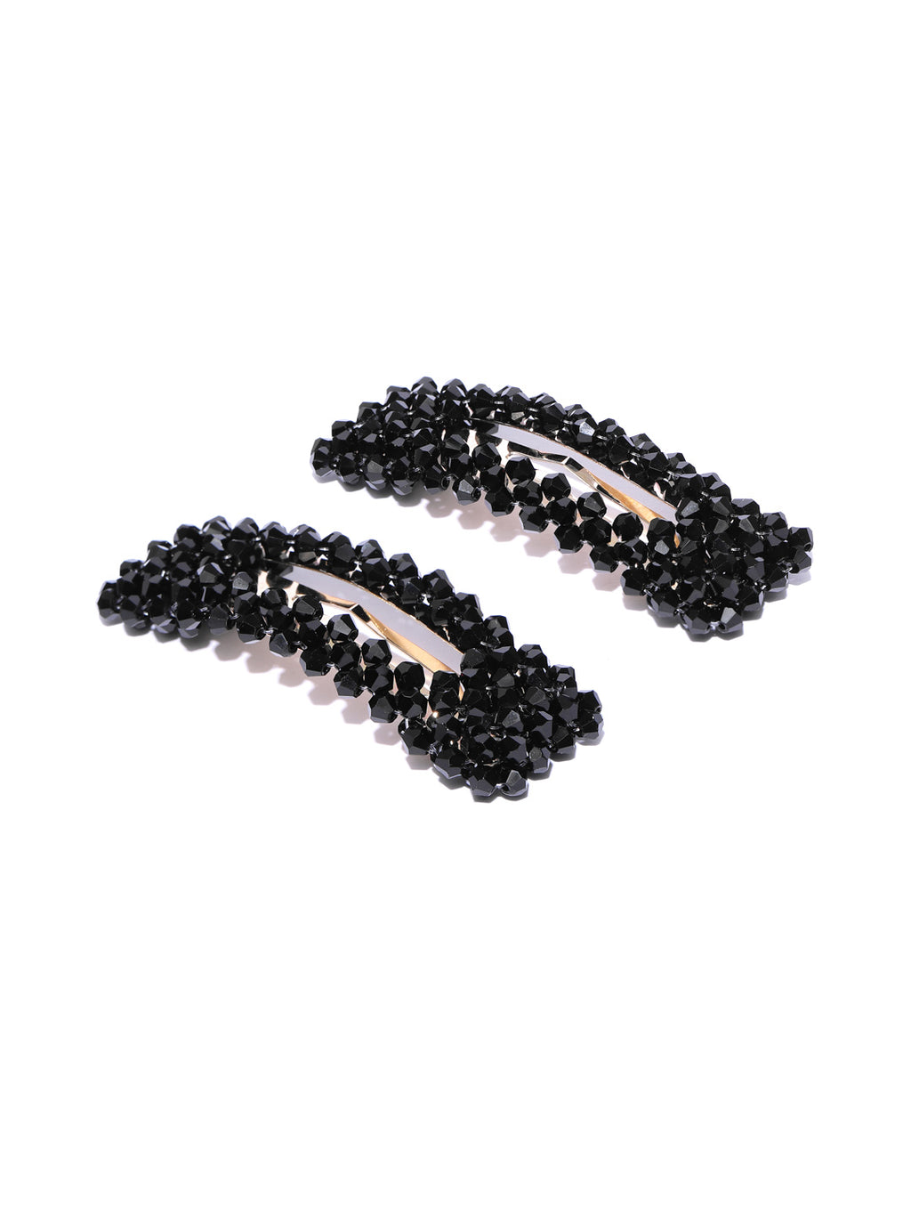 Blueberry set of 2 black crystal beads detailing hair pins