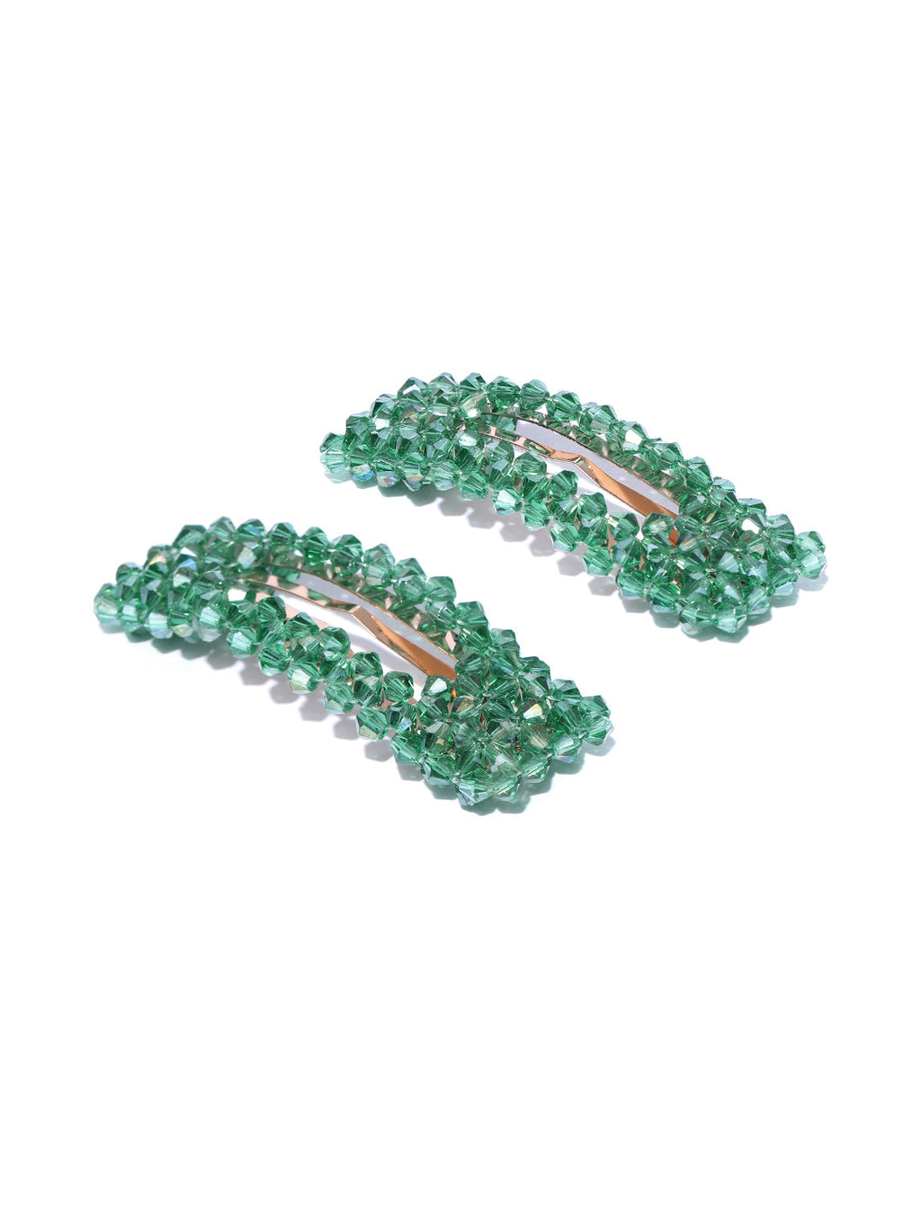 Blueberry set of 2 green crystal beads detailing hair pins
