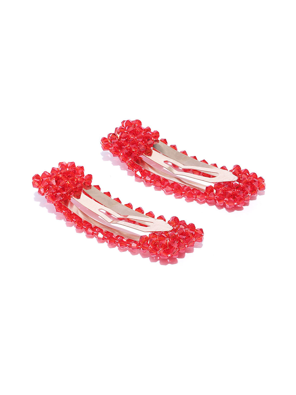 Blueberry set of 2 red crystal beads detailing hairpins