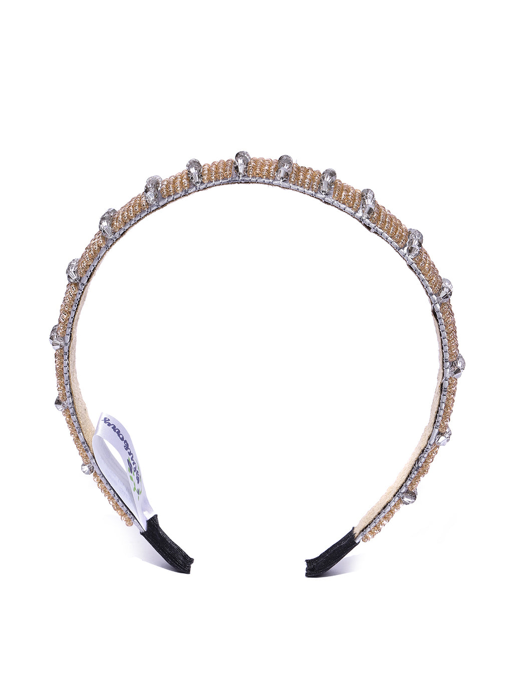 Blueberry golden and grey precious beads detailed hair band