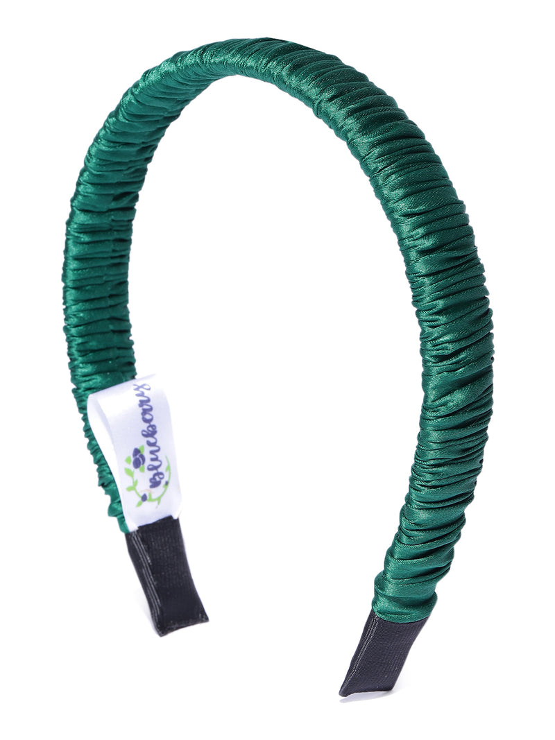 Blueberry dark green pleated hair band