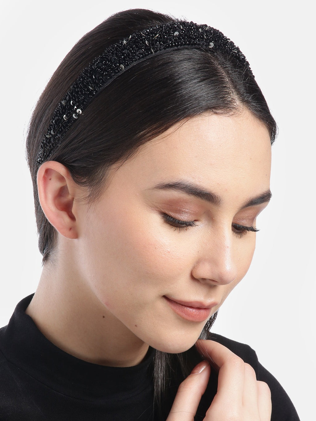 Blueberry black sequins embellished hair band