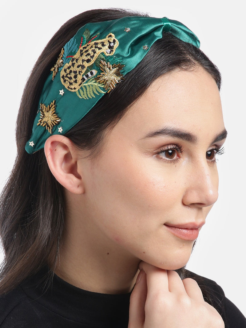 Blueberry green floral embroidery knot satin hair band