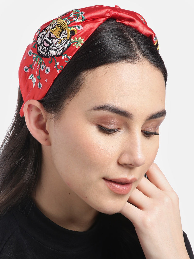 Blueberry tiger embroidery red satin knot hair band