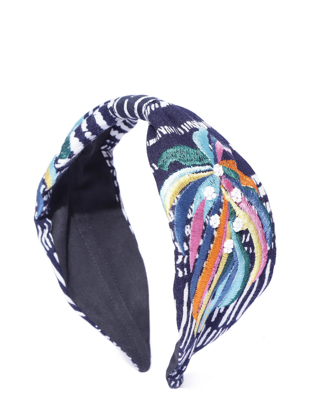 Blueberry multi colour embroidery knot hair band