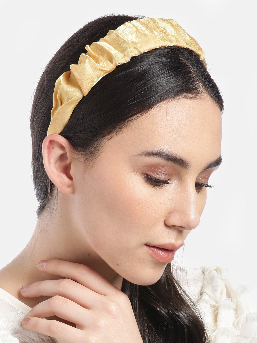 Blueberry Mustard pleated hair band