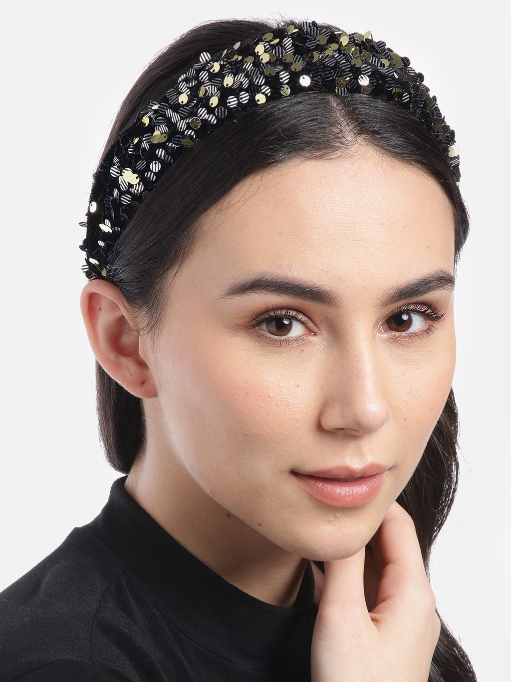 Blueberry Multi sequin embellished black velvet hair band