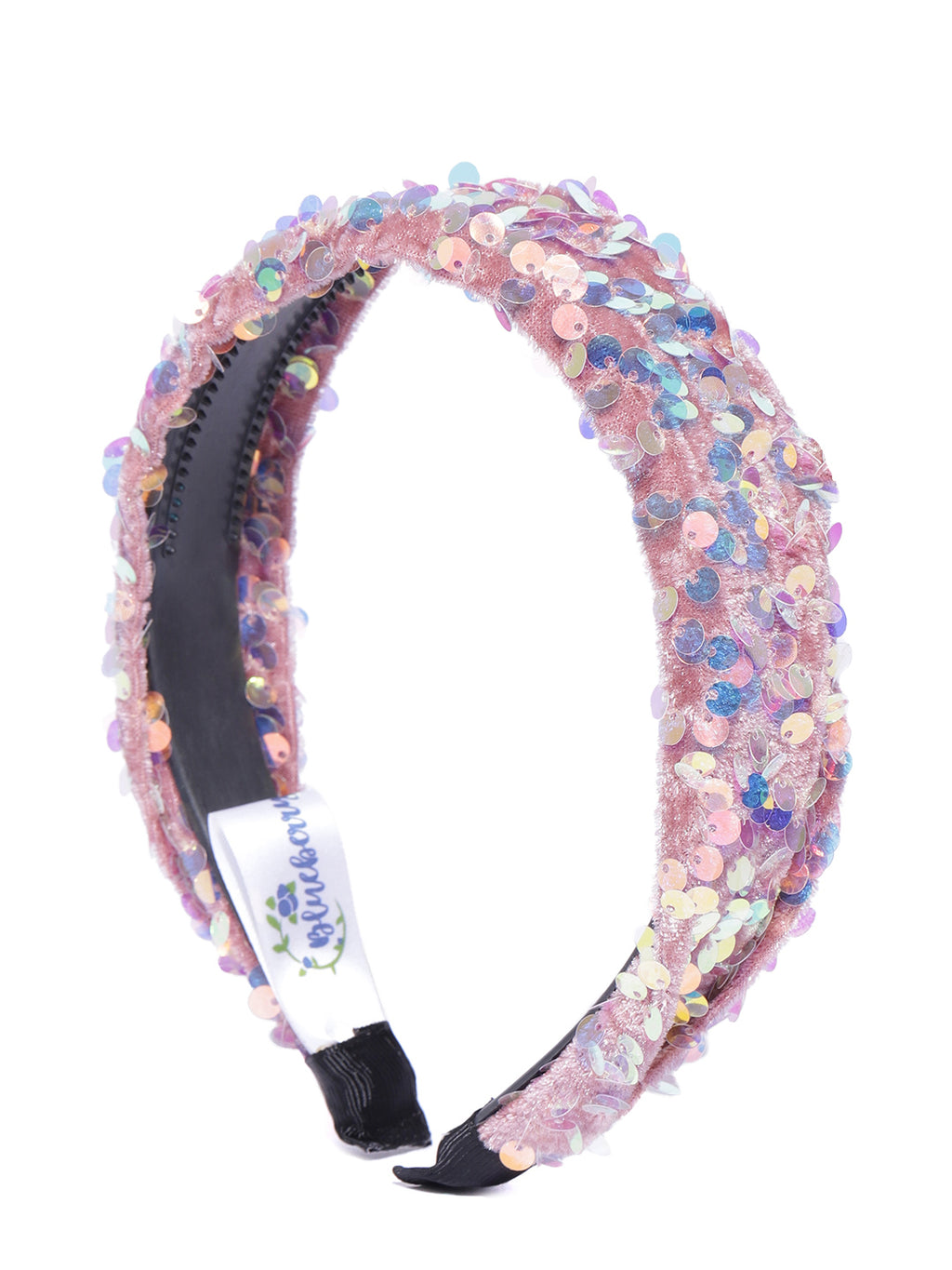 Blueberry multi sequin embellished pink velvet hair band
