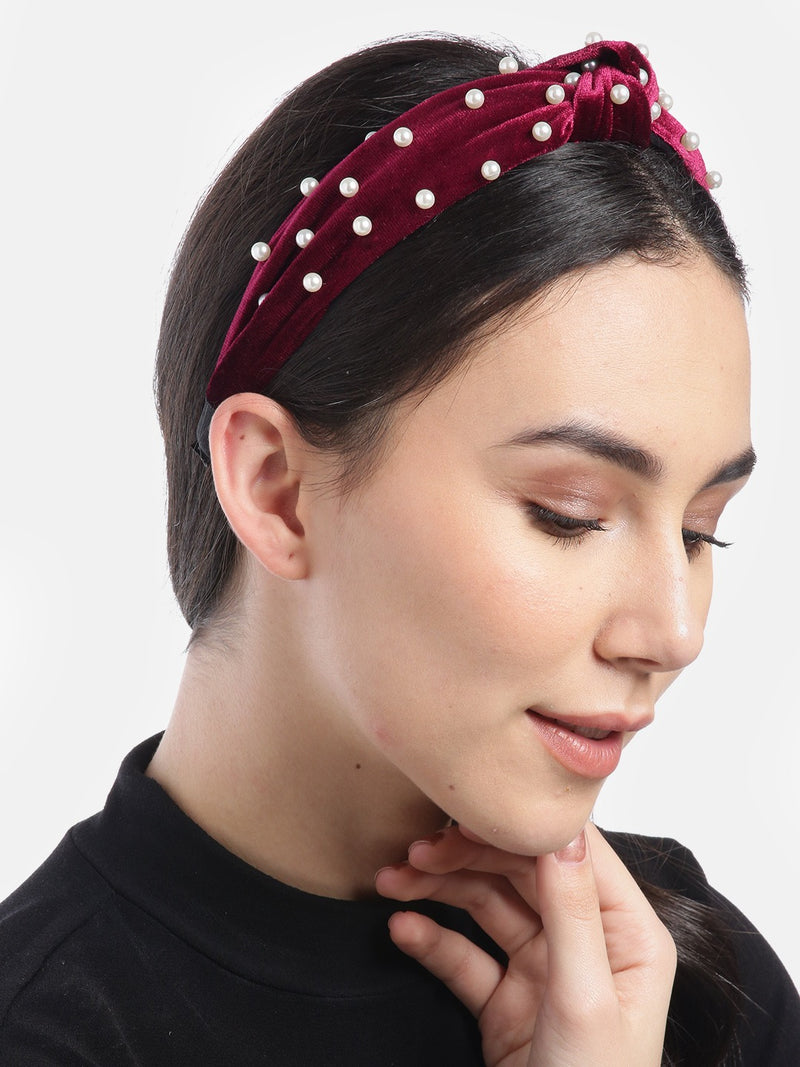Blueberry princess pearl embellished maroon velvet knot hair band