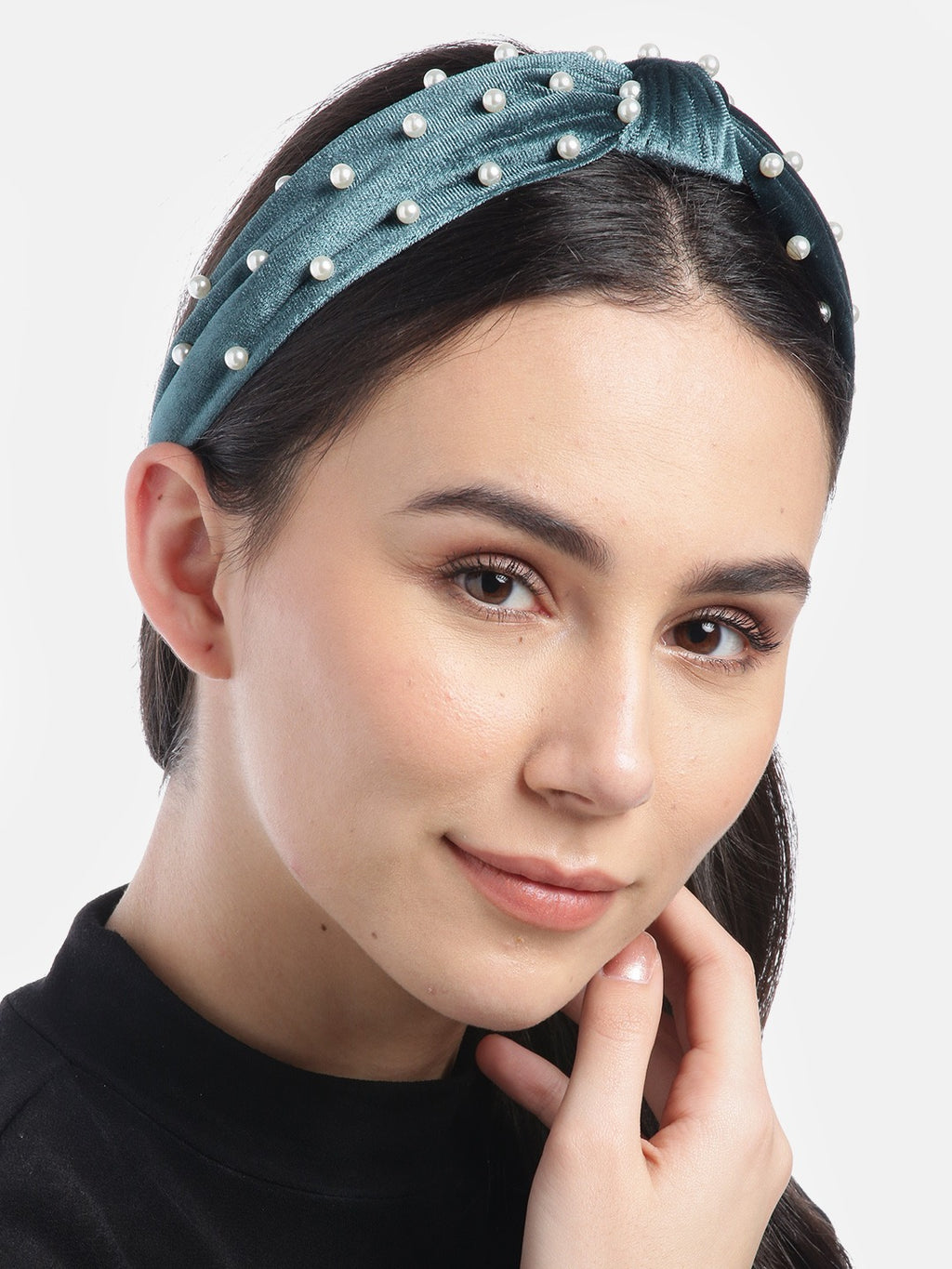 Blueberry princess pearl embellished blue velvet knot hair band
