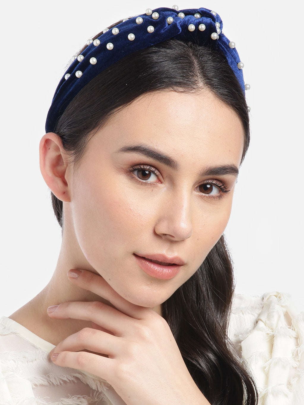 Blueberry princess pearl embellished navy blue velvet knot hair band