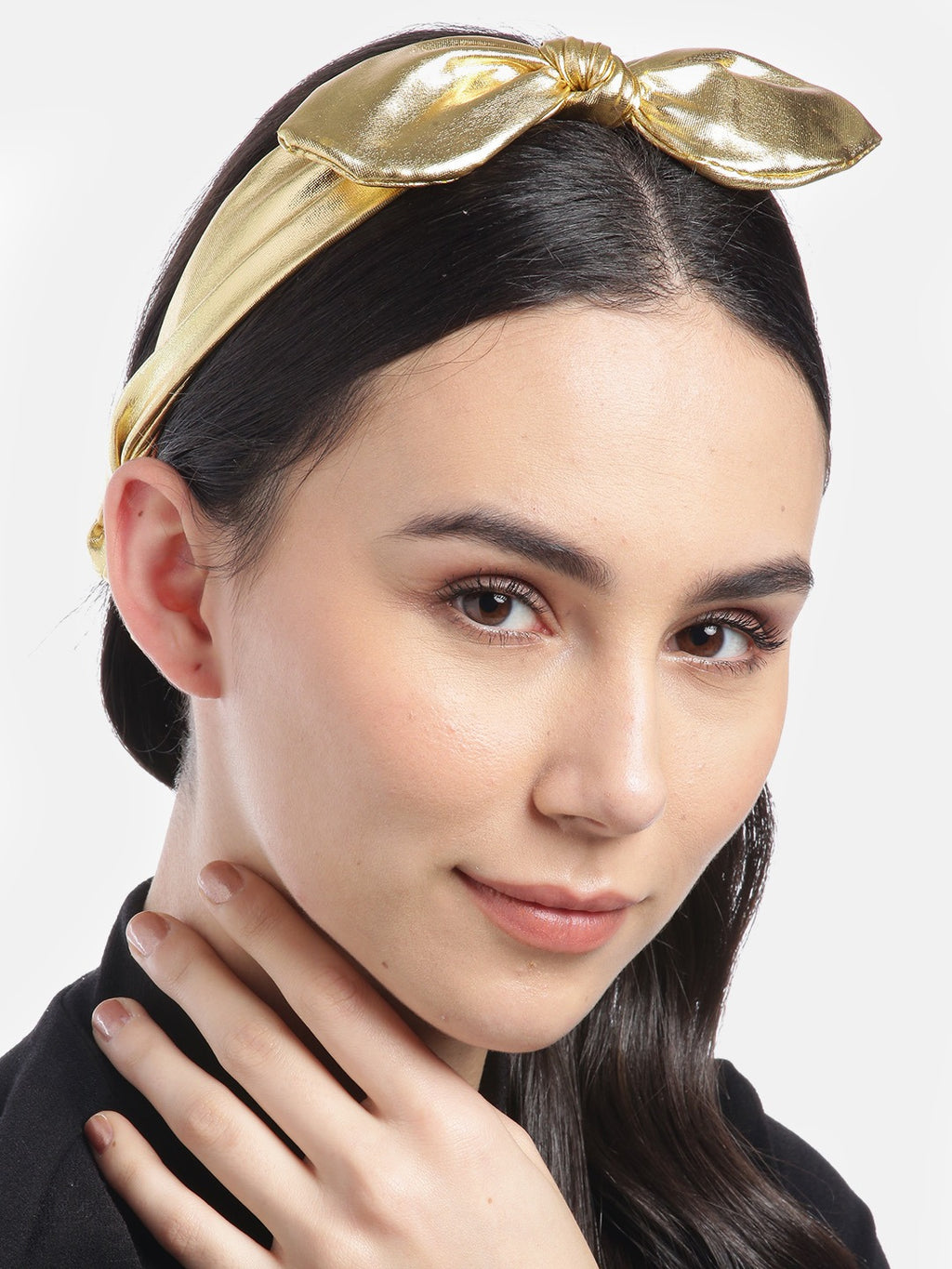 Blueberry Gold leather bunny knot hair band