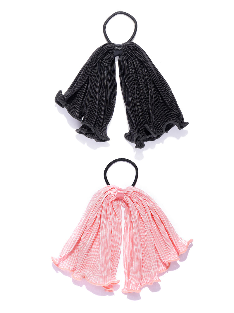 Blueberry set of 2 black/pink ruffle scrunchies