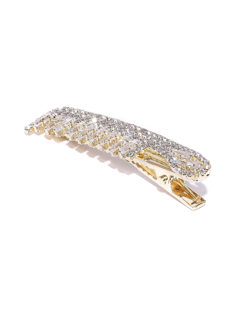 Blueberry gold crystal stone embellished comb shape alligator hair clip
