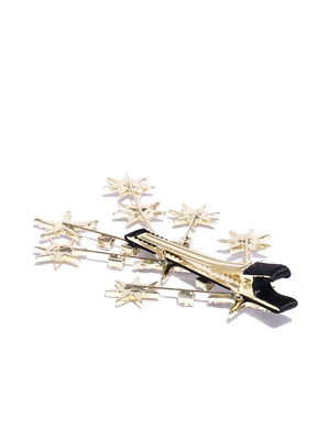 Blueberry gold plated star shape crystal embellished alligator hair clip