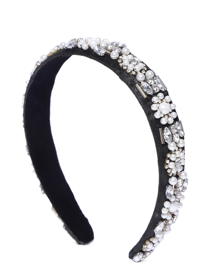 Blueberry white princess pearl and crystal stone embellished hair band
