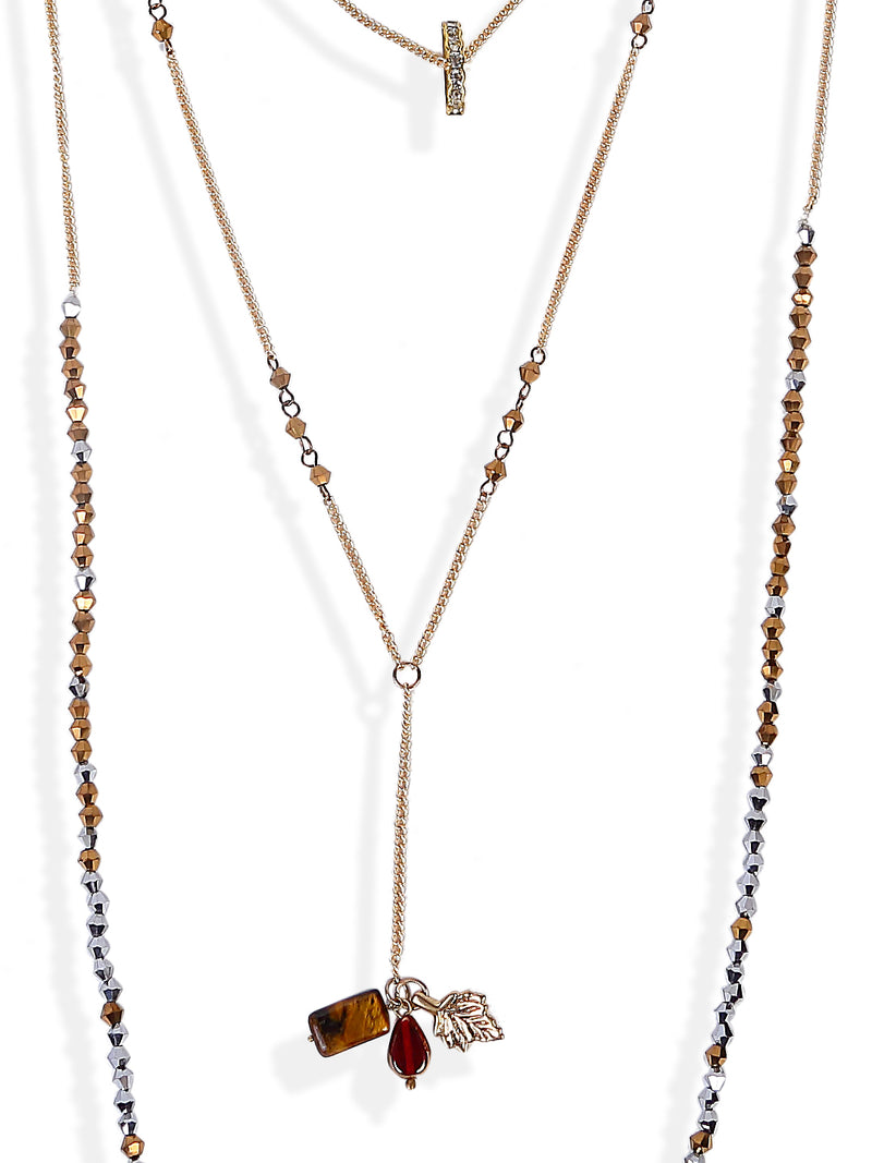 Blueberry gold plated beaded chain necklace