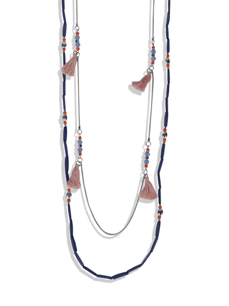 Blueberry multi colour beaded necklace