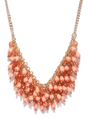 Blueberry peach and gold toned beaded necklace