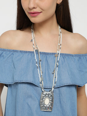 Blueberry silver and white statement necklace