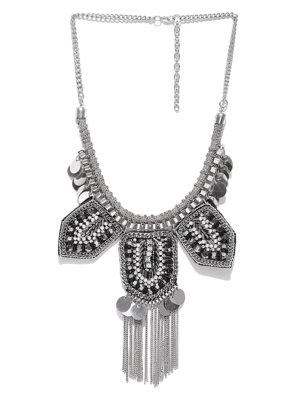 Silver toned statement necklace