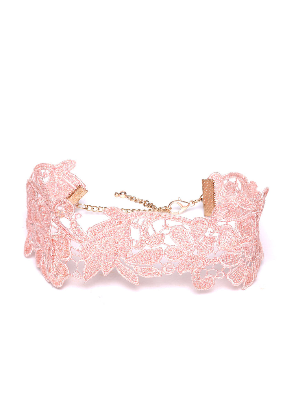 Blueberry Peach colour leaf shape lace choker necklace