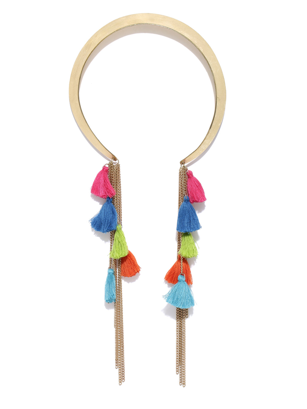 Gold toned hasli necklace with multicoloured tassel and chain danglers