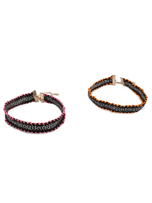 Blueberry set of 2 multicoloured choker necklace for women
