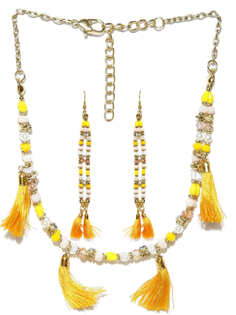 Multicoloured beaded tassel choker necklace with earrings
