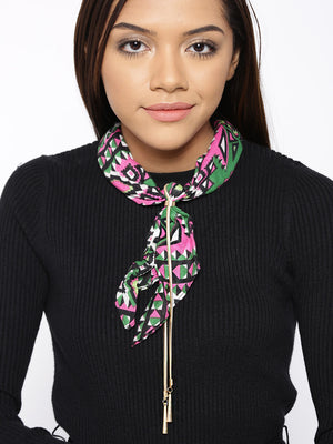 Blueberry multi color printed scarf necklace