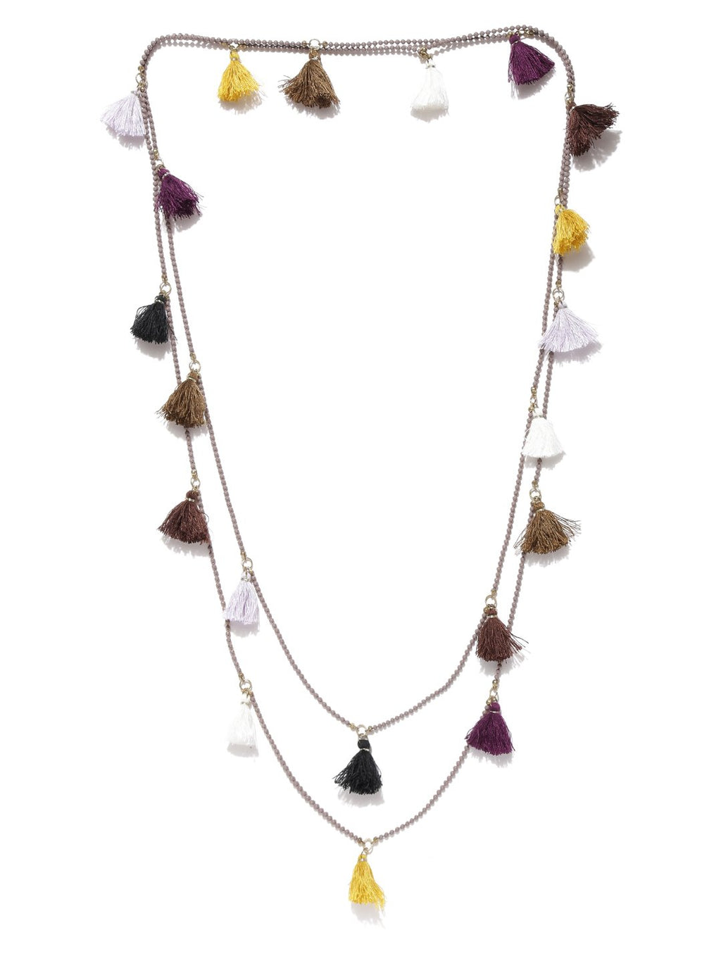 Blueberry multicoloured tassel necklace