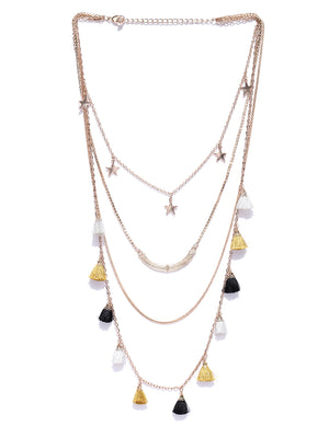 Blueberry gold layer chain necklace has tassel detailing