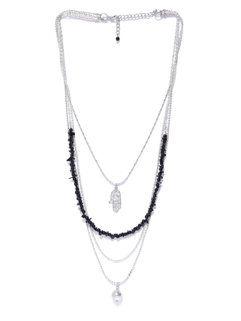 Blueberry silver chain beads detailing necklace