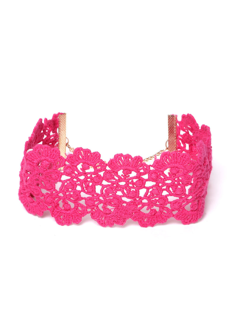 Blueberry Pink colour choker necklace