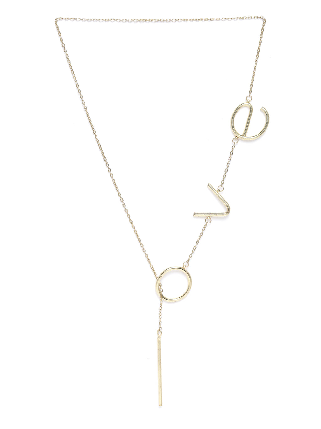 Blueberry gold plated love lariyat chain necklace