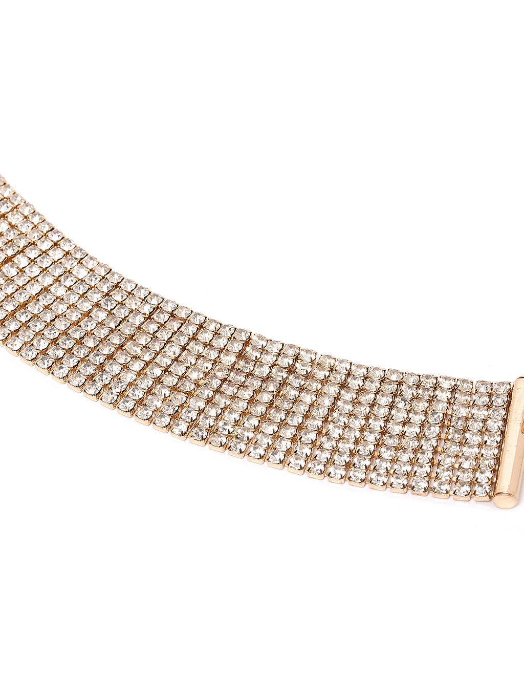 Blueberry gold plated crystal diamond emebllished choker necklace