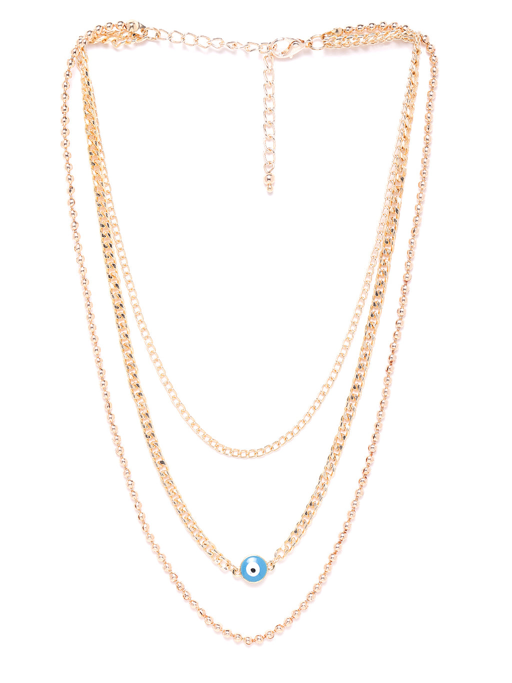 Blueberry gold Plated Evil Eye detailing chain layered necklace