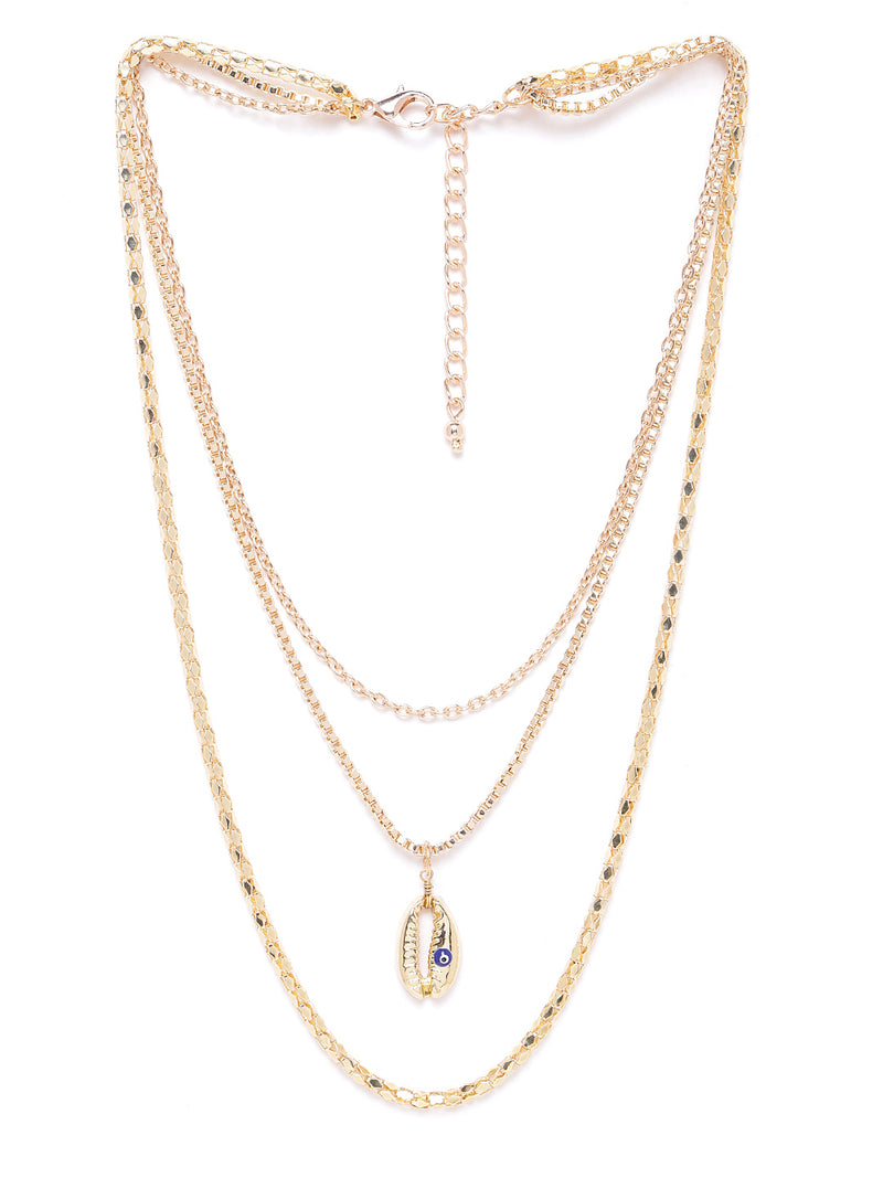 Blueberry gold Plated Evil Eye and shell detailing chain layered necklace