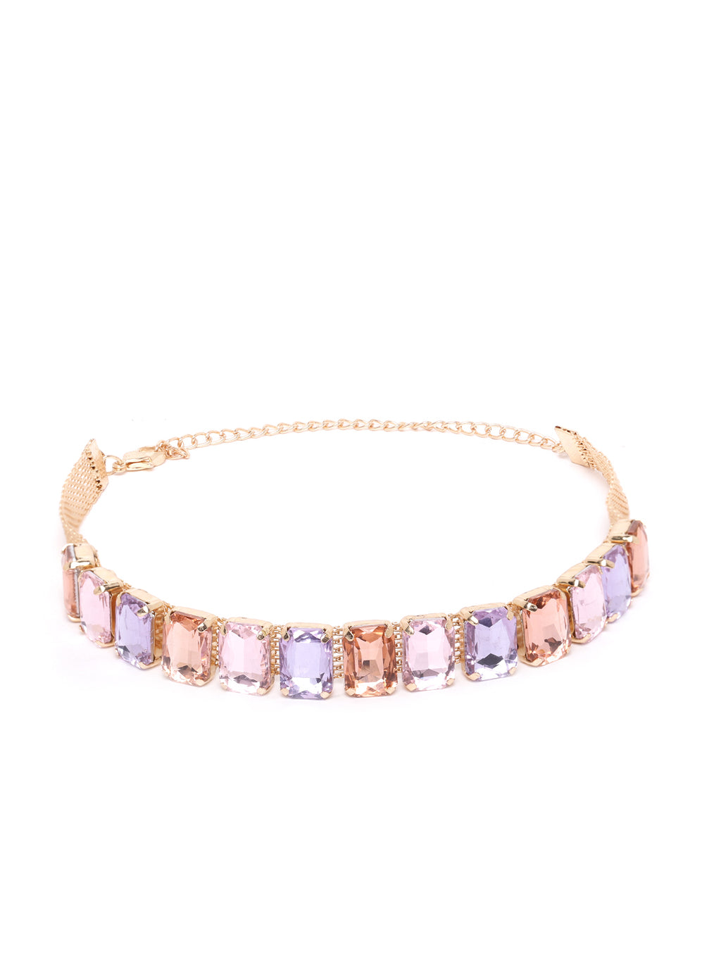 Blueberry gold plated stone embellished choker necklace